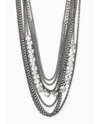 Violeta by Mango - Black Chain Waterfall Necklace - Lyst
