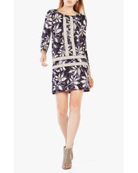 BCBGMAXAZRIA | Black Print Jersey Wrap Dress | Lyst