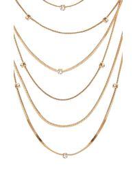 BCBGMAXAZRIA - Metallic Layered Stone Necklace - Lyst