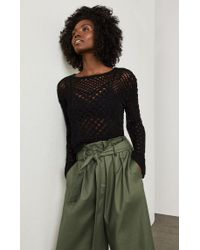 BCBGMAXAZRIA - Black Open-stitch Crop Sweater - Lyst
