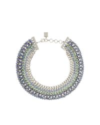 BCBGMAXAZRIA - Green Woven-chain Spike Necklace - Lyst