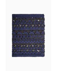 BCBGMAXAZRIA - Blue Crystal Crochet Loop Scarf - Lyst