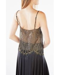 BCBGMAXAZRIA - Black Mady Metallic Lace Camisole Top - Lyst