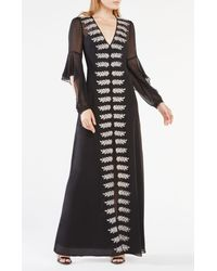 BCBGMAXAZRIA - Black Beverle Embroidered Silk Gown - Lyst