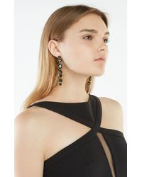 BCBGMAXAZRIA - Green Geometric Faceted Stone Linear Drop Earrings - Lyst