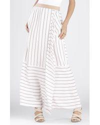 BCBGMAXAZRIA | White Haleigh Printed Side-drape Stripe-blocked Skirt | Lyst