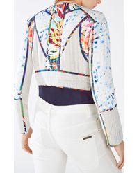 BCBGMAXAZRIA - Multicolor Motley Tropical Print-blocked Tweed Jacket - Lyst