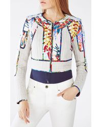 BCBGMAXAZRIA - Multicolor Motley Tropical Print-blocked Tweed Jacket - Lyst