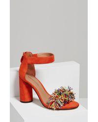 BCBGMAXAZRIA | Red Misha Pom-pom Ankle Strap Sandal | Lyst