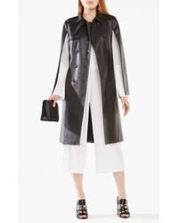 BCBGMAXAZRIA - Black Lambert Faux-leather Cape Trench Coat - Lyst