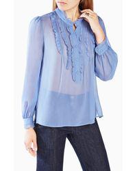 BCBGMAXAZRIA | Blue Leola Ruffled Silk Blouse | Lyst