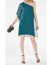 BCBGMAXAZRIA | Green Alana One-shoulder Silk Dress | Lyst
