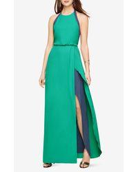 BCBGMAXAZRIA | Green Camillia Halter-neck Color-blocked Dress | Lyst