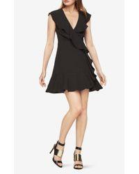 BCBGMAXAZRIA Black Deborah Ruffled Dress