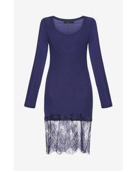 BCBGMAXAZRIA - Blue Livi Lace-hem Dress - Lyst