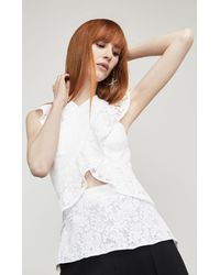 BCBGMAXAZRIA - White Bcbg Ginata Floral Lace Top - Lyst