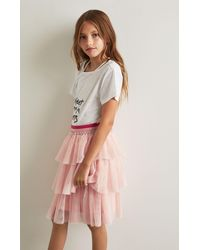 BCBGMAXAZRIA - Pink Bcbg Tiered Ruffle Skirt - Lyst