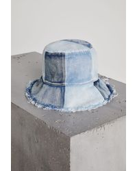 b97e9ec0bf4 BCBGeneration Patched Denim Bucket Hat in White - Lyst