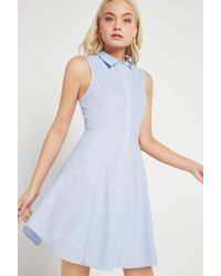 BCBGeneration - Blue Flared Pinstriped Shirt Dress - Lyst