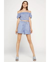 BCBGeneration - Blue Striped Cotton Paperbag Short - Lyst