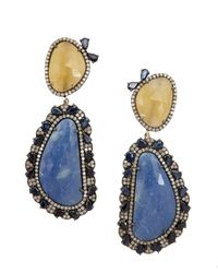 Amrapali | Diamond And Blue And Yellow Aquamarine Drop Earrings | Lyst