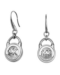 Michael Kors | Orange Heritage Silver Mk Logo Drop Earrings | Lyst