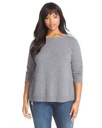 Eileen Fisher | Gray Cashmere Bateau Neck Sweater | Lyst