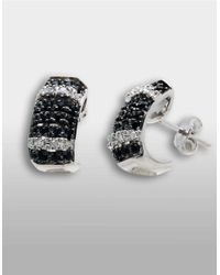 Lord & Taylor | Sterling Silver Huggie Earrings With Black Sapphire And Diamonds | Lyst