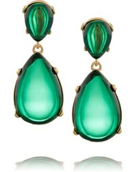 Kenneth Jay Lane | Green Gold-Plated Resin Earrings | Lyst