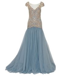 Marchesa | Blue Drop Waist Embroidered Ball Gown | Lyst