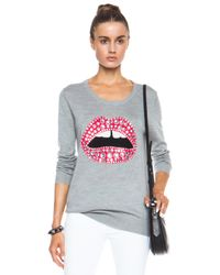 Markus Lupfer - Gray Jewelled Lara Lip Merino Wool Sweatshirt - Lyst