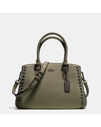 COACH - Green Empire Carryall In Lacquer Rivets Pebble Leather - Lyst