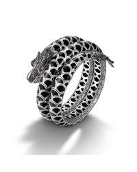 John Hardy | Double Coil Bracelet With Black Enamel | Lyst
