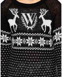 Wildfox - Black Fairisle Holidays Sweater - Lyst