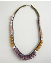 Ben-Amun | Purple Plum and Olive Bead Cord and Chain Necklace | Lyst