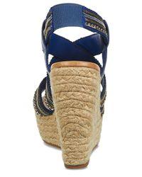 Carlos By Carlos Santana - Blue Corelle Sequin Espadrille Platform Wedge Sandals - Lyst