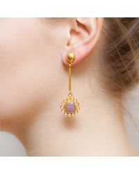 Kastur Jewels | Pink Art Deco Flower Sapphire & Crystal Earrings | Lyst