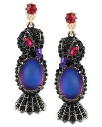 Betsey Johnson | Two-tone Crystal And Blue Stone Raven Drop Earrings | Lyst