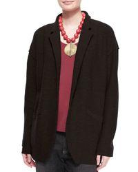 Eileen Fisher - Black Lightweight Boiled Wool Jacket - Lyst
