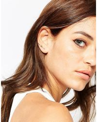 ASOS | Metallic Gold Plated Brass Two Pack Fine Knot Ear Wires | Lyst