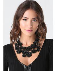 Bebe - Black Pave Rosette Necklace - Lyst