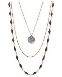 Lucky Brand - Metallic Three-layer Necklace - Lyst