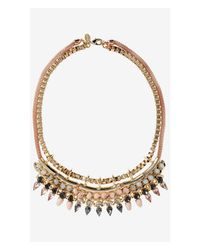 Express - Metallic Layered Teardrop Stones And Chain Necklace - Lyst