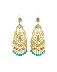 Jose & Maria Barrera - Blue Adventurine Tapered Chandelier Earrings - Lyst