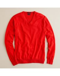 J.Crew | Red Italian Cashmere V-neck Sweater for Men | Lyst