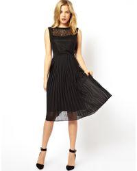 ASOS | Black Lace Top Pleat Midi Dress | Lyst