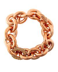 Eddie Borgo - Pink Rose Gold Pave-link Chain Bracelet - Lyst