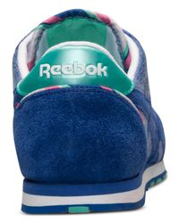 Reebok - Blue Women'S Classic Nylon Slim Jacquard Casual Sneakers From Finish Line - Lyst