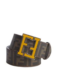 Fendi - Brown Tobacco Zucca Spalmati Yellow Logo Buckle Belt for Men - Lyst