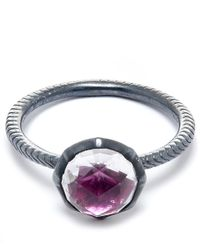 Larkspur & Hawk | Metallic Silver Scarlet Stone Bella Stacking Round Ring | Lyst